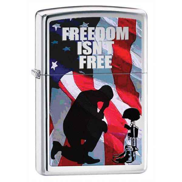 Zippo High Polish Chrome, Freedom Isn't Free