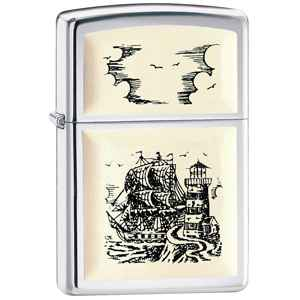 Zippo High Polish Chrome, Scrimshaw Ship Embl