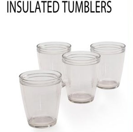Set of 4 Clear Insulated Tumblers Made in USA - 16 oz