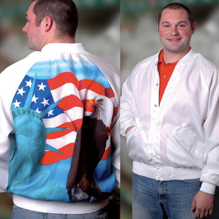 "Patriotic Jacket Made in USA - Liberty - <FONT FACE=""Times New Roman"" SIZE=""+1"" COLOR=""#FF0000""> On Sale Now! </font>"