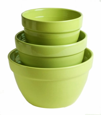 Lime Three-Piece American Made Mixing Bowl Set