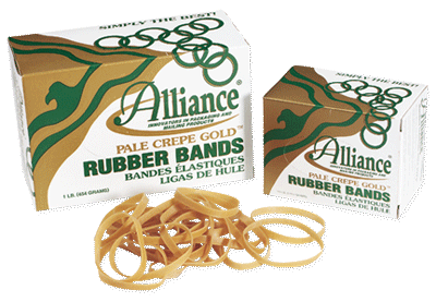 Pale Crepe Gold Rubber Bands American Made - 1 Case of 10 Boxes