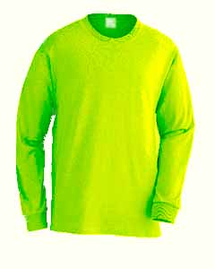 Long Sleeve Safety Green S/S Pkt T-Shirt Made in USA