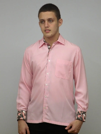 Pink Casual Print Long Sleeve Shirt Made in America