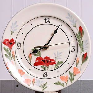 American Made Ceramic Clock - Red Poppy