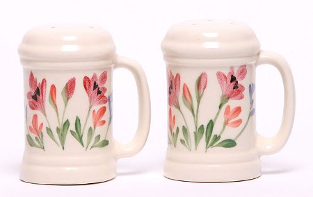Handpainted Red Poppy Handled Salt and Pepper Shaker Set American Made