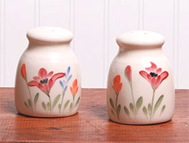 Handpainted Red Poppy Salt and Pepper Shaker Set Made in USA