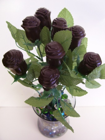 Solid Chocolate Roses Made in USA - One Dozen