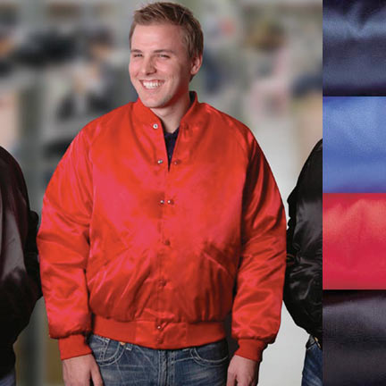 Men's Nylon Satin Award Jacket-Solid Satin Quilted