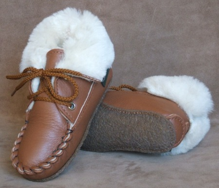 Children's 2-Eyelet Sheepskin Slippers - American Made by Footskins