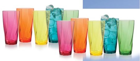 24-Ounce Twist AssortedTumbler Glasses,Set of 10 Made in America