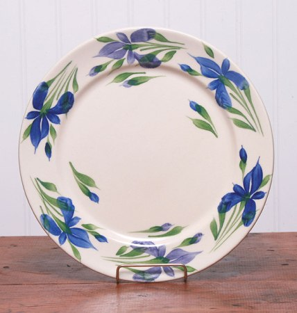 4 Handpainted Iris Dinner Plates - American Made