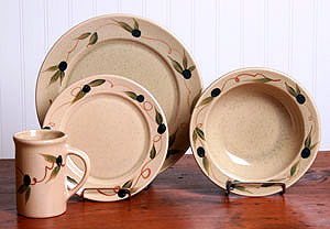 Tuscan Olive Dinner Set for 4 Made in USA by Emerson Creek Pottery