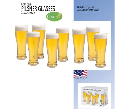 Pilsner 8 pk Beer Glass Set American Made