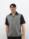 Daccord Casual Shirt Black Houndstooth Made in USA