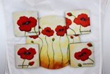 Poppy Garden Hostess Coaster & Trivet Set Made in USA