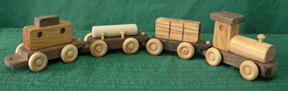 Handmade Wooden Four Piece Train Set - American Made