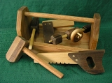 Handmade Wood American Made Toy Tool Box and Toy Tools