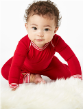 "Solid Red Stretch L/S Onesie Boo Boo Onsie Made in USA <FONT FACE=""Times New Roman"" SIZE=""+1"" COLOR=""#FF0000""> On Sale Now! </font>-"