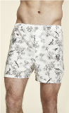 Aqua Birds Toile Cotton Boxer Shorts Made in USA