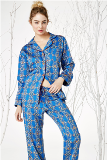 "Bedhead Pajamas Navy Royal Foulard Cotton L/S Classic PJ Made in USA <FONT FACE=""Times New Roman"" SIZE=""+1"" COLOR=""#FF0000""> On Sale Now! </font>-"