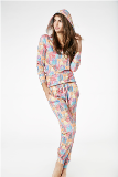 Bedhead Pajamas Multi Wonders of the World Stretch L/S Hoodie & Lounge Pant Made in America