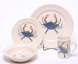 Blue Crab Dinner Set for 4 Made in USA by Emerson Creek Pottery