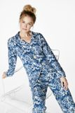Bedhead Pajamas Navy Under the Sea Stretch L/S Classic PJ Set Made in America