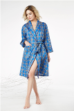 BedHead Pajamas Navy Royal Foulard Robe Made in USA