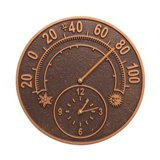 Solstice Thermometer Clock, Antique Copper Made in America