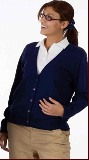 Ladies V-Neck 5-button Cardigan Sweater Made in America