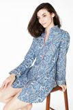 Indigo Boho Paisley Flannel L/S Mandarin Collar Nightshirt Made in USA