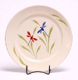 4 Handpainted Dragon Fly Dinner Plates American Made