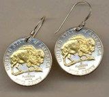 "New Jefferson nickel ""Bison"" (2005) Earrings - Made in America"