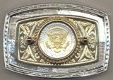 Kennedy half (reverse) Belt Buckle Made in USA - �Eagle, banner & All stars in Gold