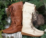 Women's Deerskin Fringe Knee High Boots  Made in USA  by Footskins