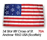 34 Star NY Cross of St. Andew Civil War Flag