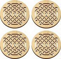 Maple Landmark 4 Pc. Coaster Set - Natural - Celtic - American Made