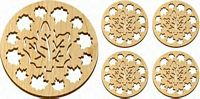Maple Landkmark  5 Pc. Trivet and Coasters Gift Set - Natural - Maple Leaves Made in USA
