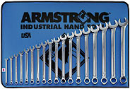 18 Pc. 12 Point Full Polish Long Combination Wrench Set Metric