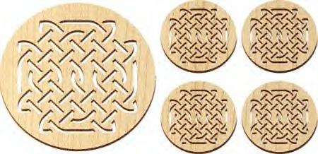 Maple Landmark 5 Pc. Trivet and Coasters Gift Set - Natural - Celtic - American Made