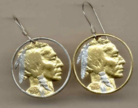 U.S. nickel �Indian� Earrings - American Made