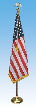 Deluxe Crown US Presentation Flag Set 3' x 5' with 7' Pole - American Made