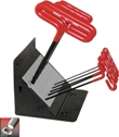 Eklind Tool&#174 Cushion Grip Hex T-Key Set, 9 inch Series, 10 keys: 3/32 to 3/8 Inch & Stand Made in USA