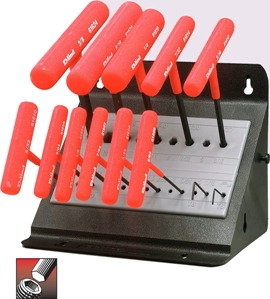 Eklind&#174 Power-T&#8482 T-Handle Hex Key Set, 6 inch Series, 11 keys: 5/64 to 3/8 Inch & Stand