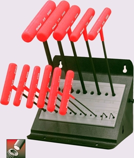Eklind&#174 Power-T&#8482 T-Handle Hex Key Set, 9 inch Series, 11 keys: 5/64 to 3/8 Inch & Stand