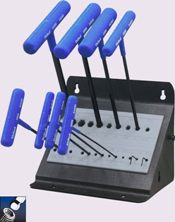 Eklind&#174 Power-T&#8482 T-Handle Ball-Hex Key Set, 9 inch Series, 8 keys: 2 to 10 MM & Stand