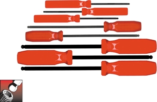 Eklind Tool Company&#174 Ball-Hex Screwdriver Set, 8 keys: .050 to 5/32 Inch & Pouch - American Made