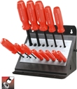 Eklind Tool Company&#174 Ball-Hex Screwdriver Set, 13 keys: .050 to 3/8 Inch & Stand - American Made