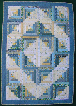 Handmade Log Cabin Crib Quilt-Blue and Yellow Fabrics  - American Made